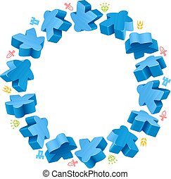 Circle frame of blue meeples