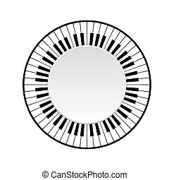 piano keyboard - Circle frame of piano keyboard on white...