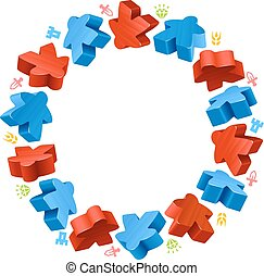 Circle frame of red and blue meeples