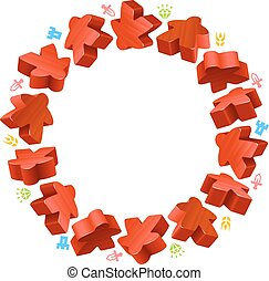 Circle frame of red meeples
