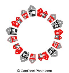 Circle frame of simple houses. Real estate concept
