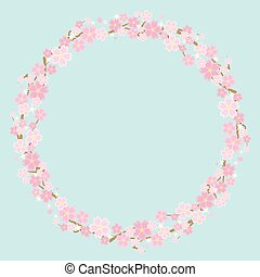 circle frame of the cherry blossoms - background is sky -