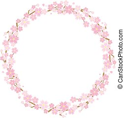 circle frame of the cherry blossoms - background is white -