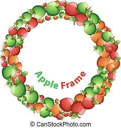 Circle frame, red, yellow, green apple cartoon. Vector eps10.