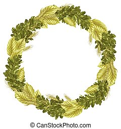Circle frame vector pattern with leaves and rye