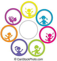 Circle frame with children and place for your text