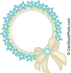 Circle frame with flowers and ribbo