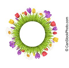 Circle frame with green grass and flowers isolated on white