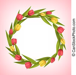 Circle frame with tulips red and yellow flowers on pink