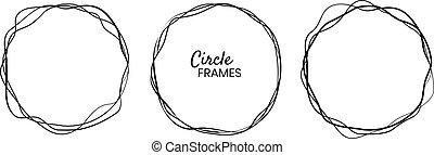 Circle frames set. Elements design. Vector illustration
