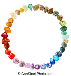 circle from natural mineral gemstones isolated