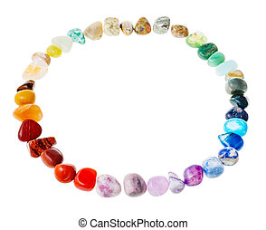 circle from natural mineral tumbled gem stones