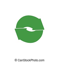 circle geometric green recycle logo vector