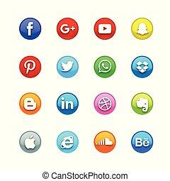 Circle Glossy Social Icon set