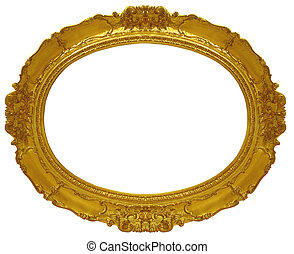 circle gold frame - a picture gold frame on a white