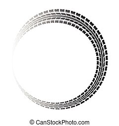 Circle gradient tire track - Black tire track silhouette on...