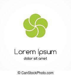 Circle green leaves eco logo. Nature sign.