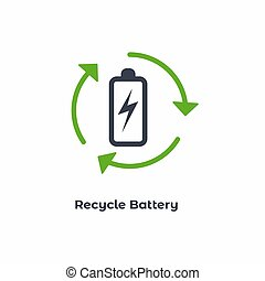 Circle Green Recycle Battery Vector Icon