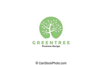 circle green tree flat logo vector symbol icon illustration design