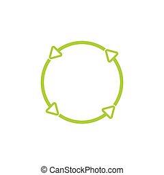 circle greene arrow thin line frame vector