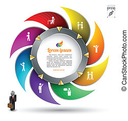 Circle group template - Vector business concepts with icons...