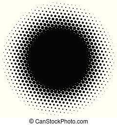 Circle half tone element over white. Circular fading circles...