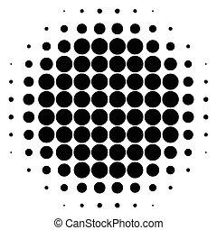 Circle halftone element. Monochrome dotted circular pattern.