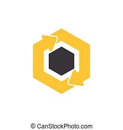 circle hexagonal arrow symbol logo vector