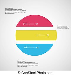 Circle horizontaly divided to three color parts on light background