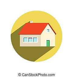 Circle House Icon Isolated on White Background