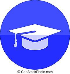 Circle icon - Graduation hat - Graduation hat icon in flat...