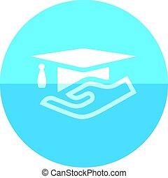 Circle icon - Hand holding diploma - Hand holding diploma...