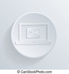 circle  icon. laptop with symbol a letter envelope