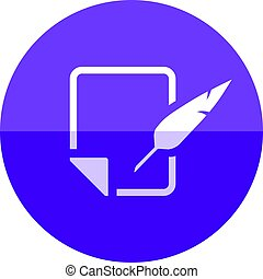 Circle icon - Letter quill pen