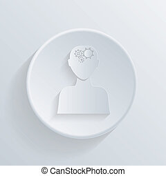 circle icon. man thinks, the gears in head