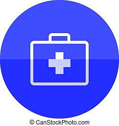 Medical case icon in flat color circle style. Health care equipment storage