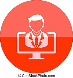 Webinar icon in flat color circle style. E-learning internet university college study distance connection