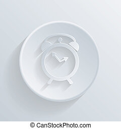 circle icon with a shadow. alarm clock