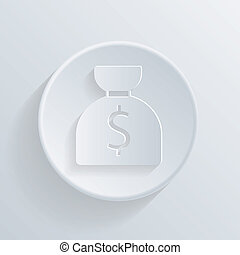 circle icon with a shadow. bag of money