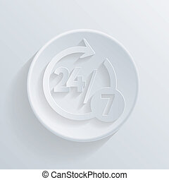 circle icon with a shadow. character 24 7