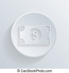 circle icon with a shadow. Dollar bill