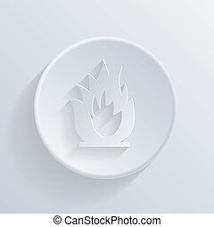 circle icon with a shadow. fire sign