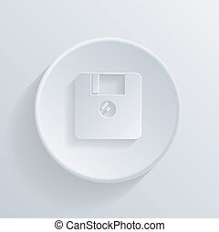 circle icon with a shadow. floppy, diskette