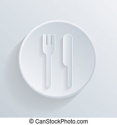 circle icon with a shadow. fork and knife