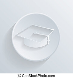 circle icon with a shadow. graduate hat