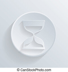 circle icon with a shadow. hourglass waiting