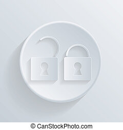 circle icon with a shadow. padlock