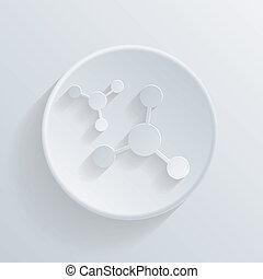 circle icon with a shadow. the atom, molecule
