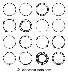 Circle Icons Set on White Background. Line Style Vector