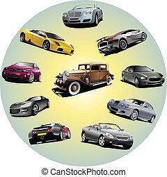 circle., illustrazione, dieci, vettore, automobili